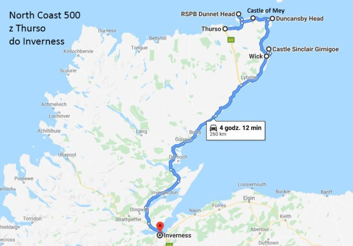 mapa thurso inverness