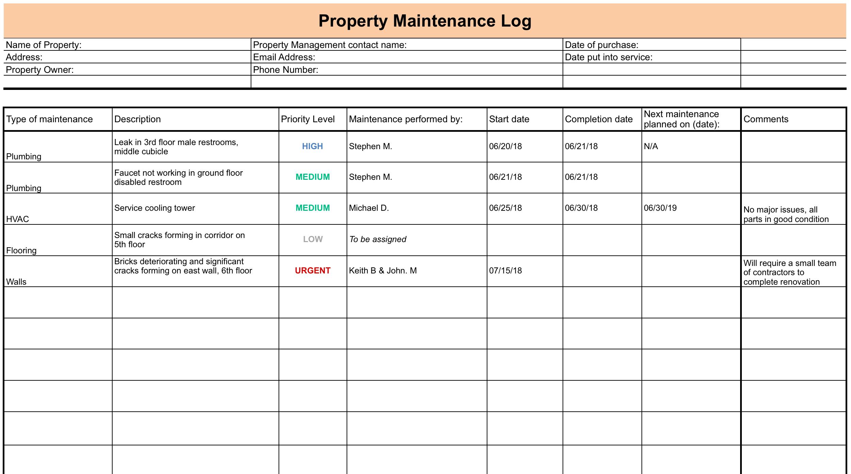 Maintenance Log Setup Checklist