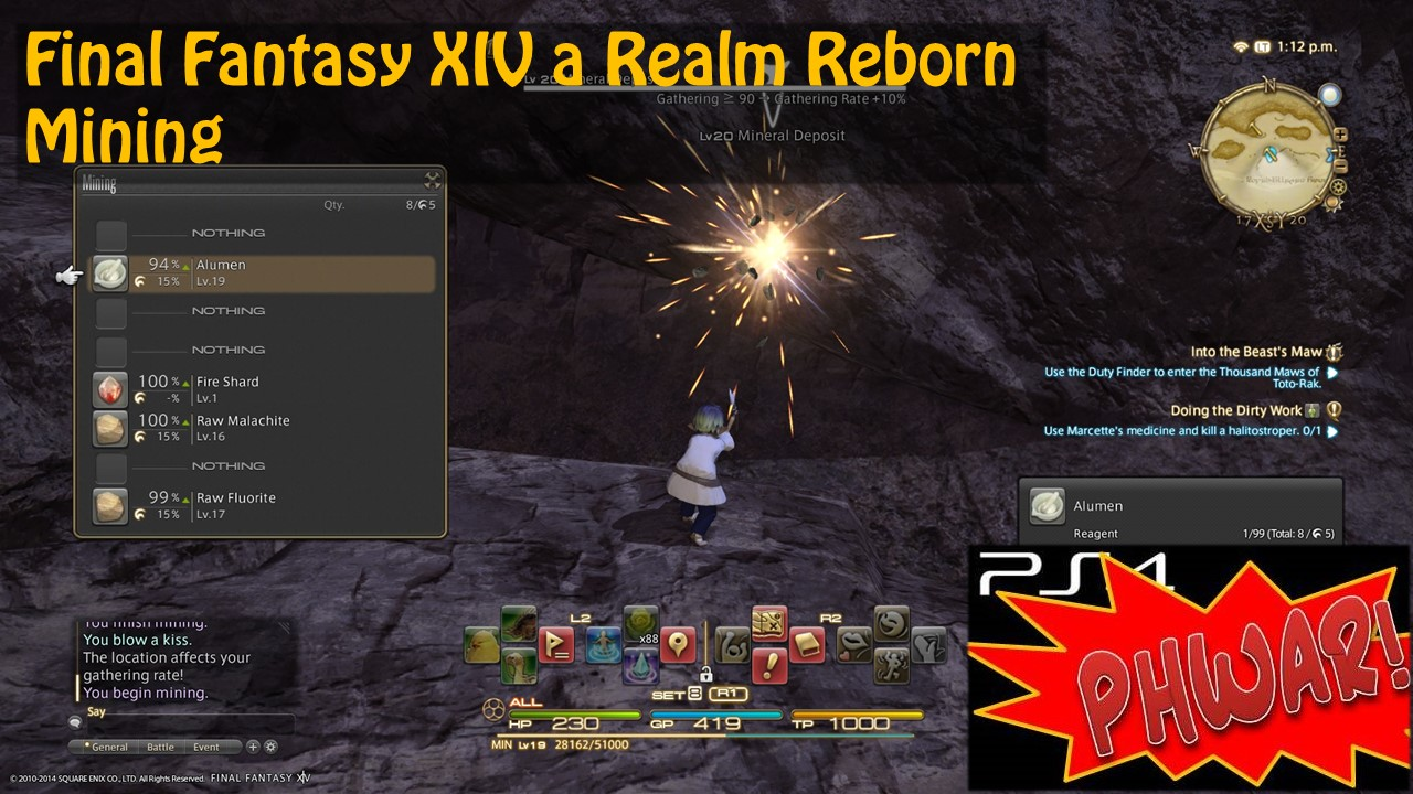 PS4 FunGathering Classes in FFXIV - intro to Mining