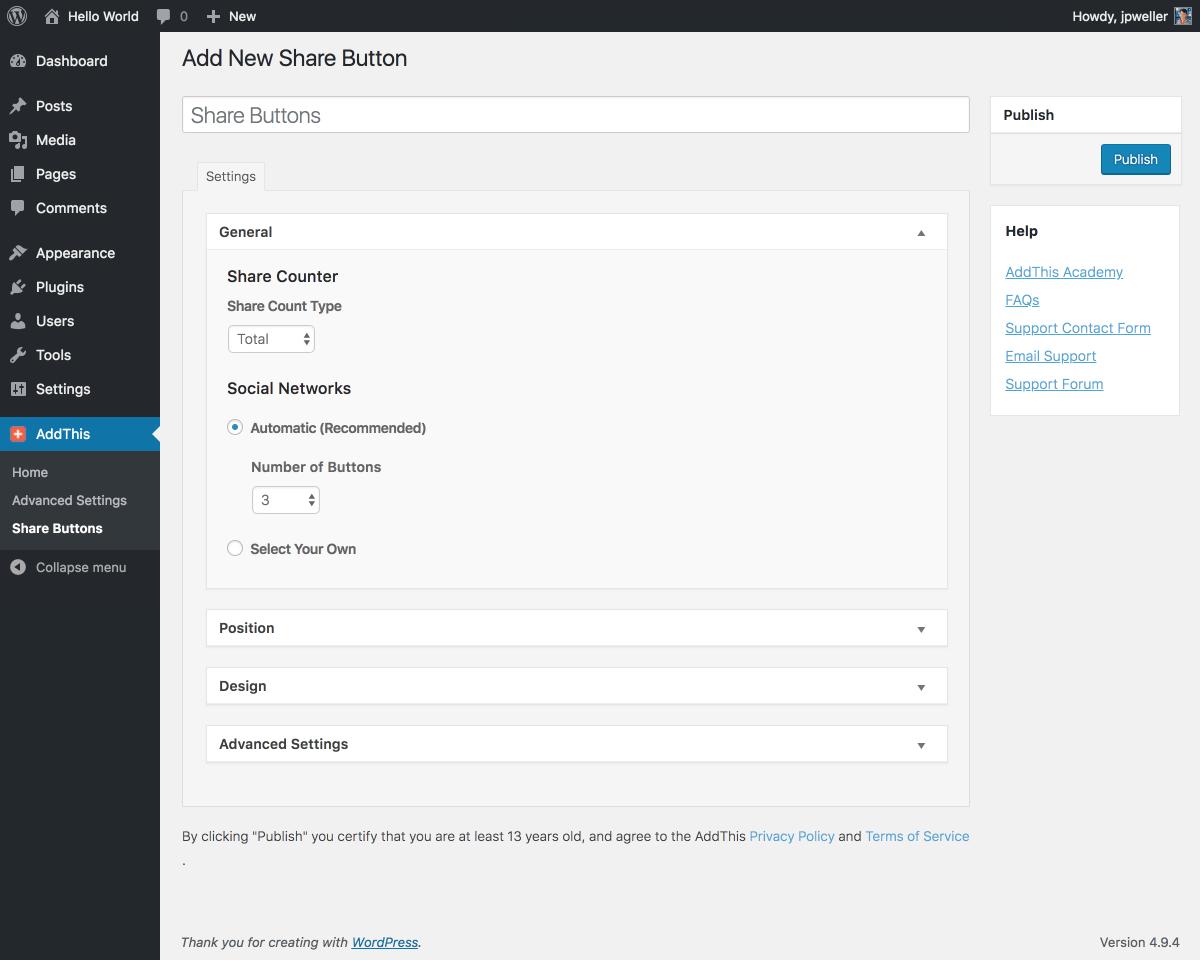 WordPress Share Buttons Plugin – AddThis Screenshot