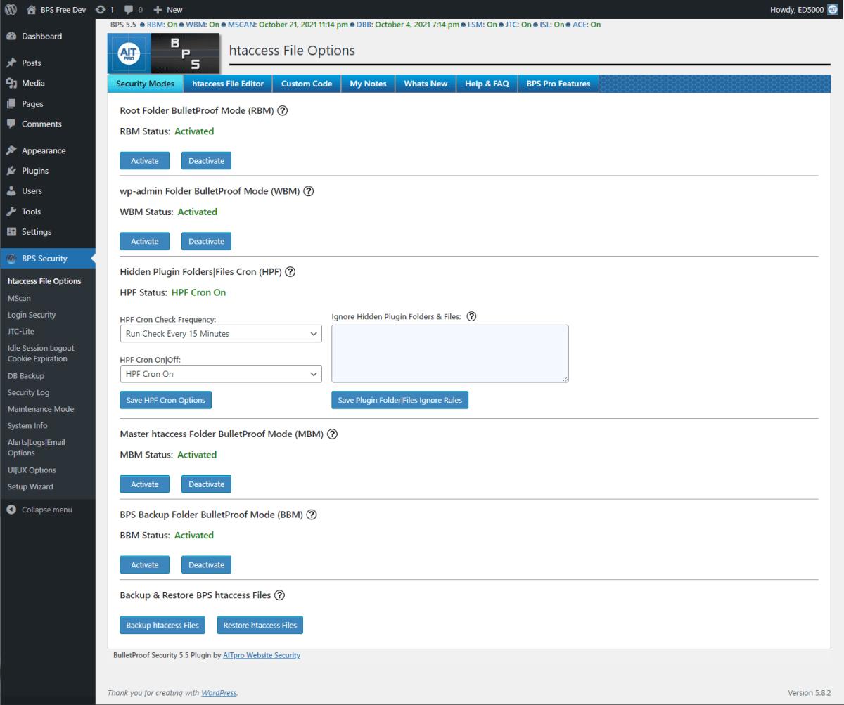 BulletProof Security Screenshot