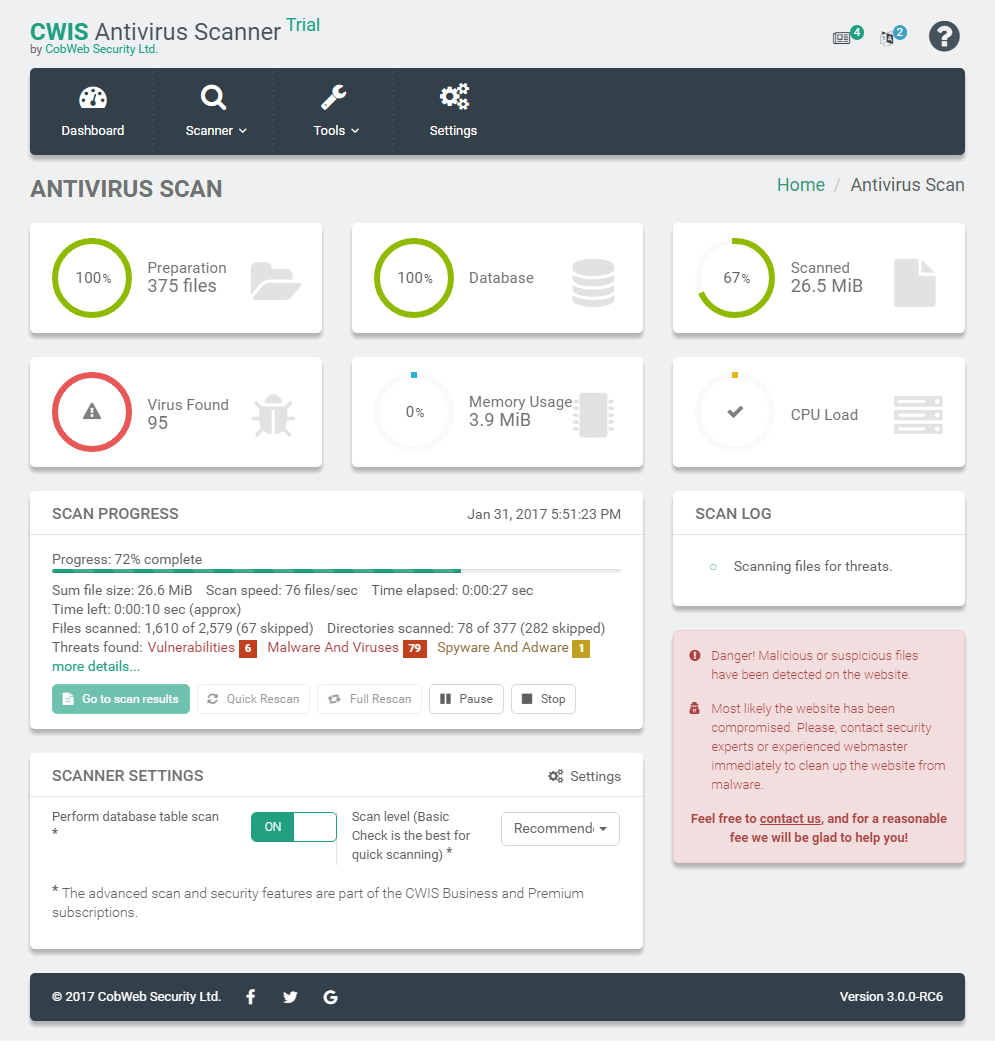 WebDefender Security – Protection & GDPR Compliance Solutions (formely CWIS Antivirus) Screenshot