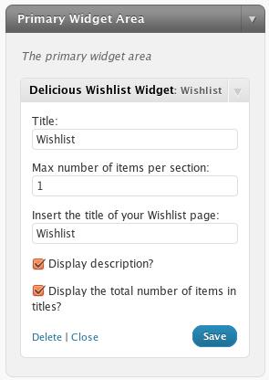 delicious-wishlist-for-wordpress screenshot 2