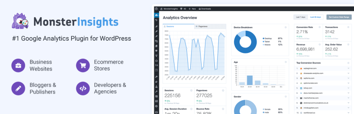 Google Analytics for WordPress by MonsterInsights Best 10 Free WordPress Plugins To Kickstart Your Website