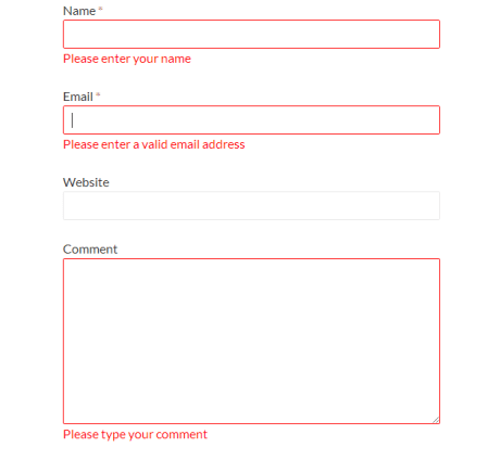 Instant Validation error messages showing to general user