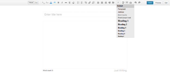 Just Writing Screenshot