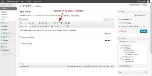 Cara membuat multipage postingan pada wordpress