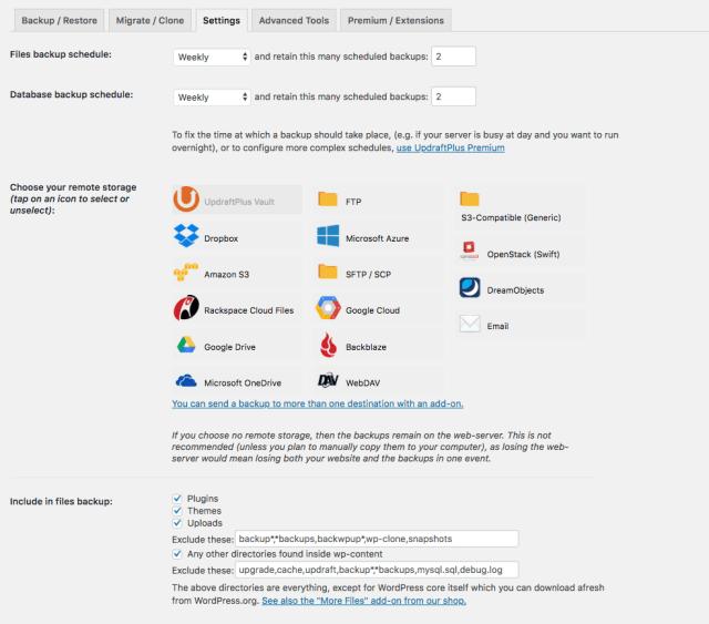 UpdraftPlus WordPress Backup Plugin Screenshot