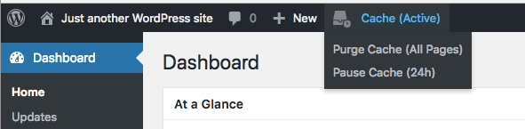 Toolbar menu (with cache enabled)