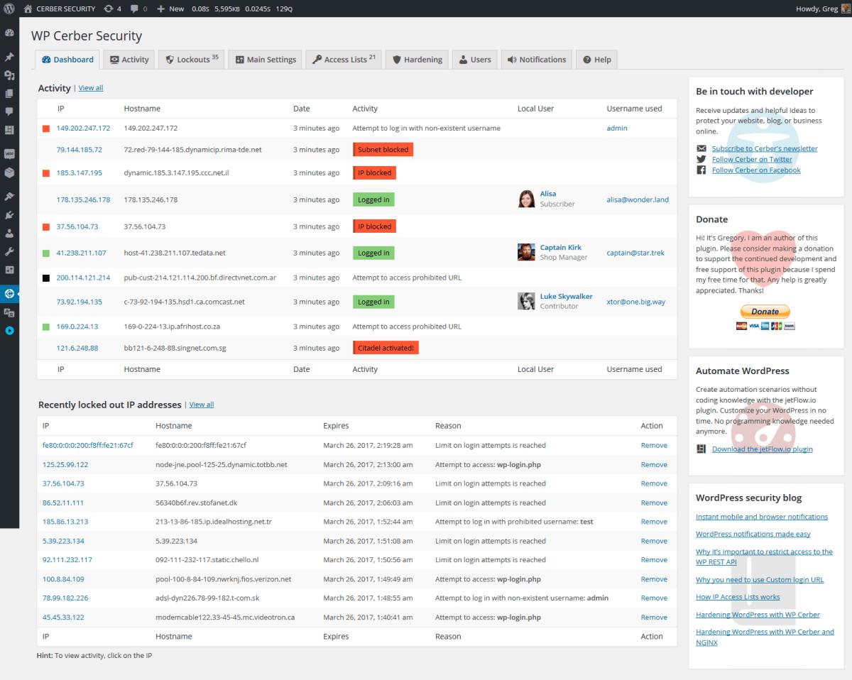 Cerber Security, Antispam & Malware Scan Screenshot