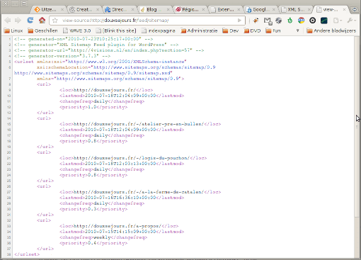 XML Sitemap source as read by search engines.