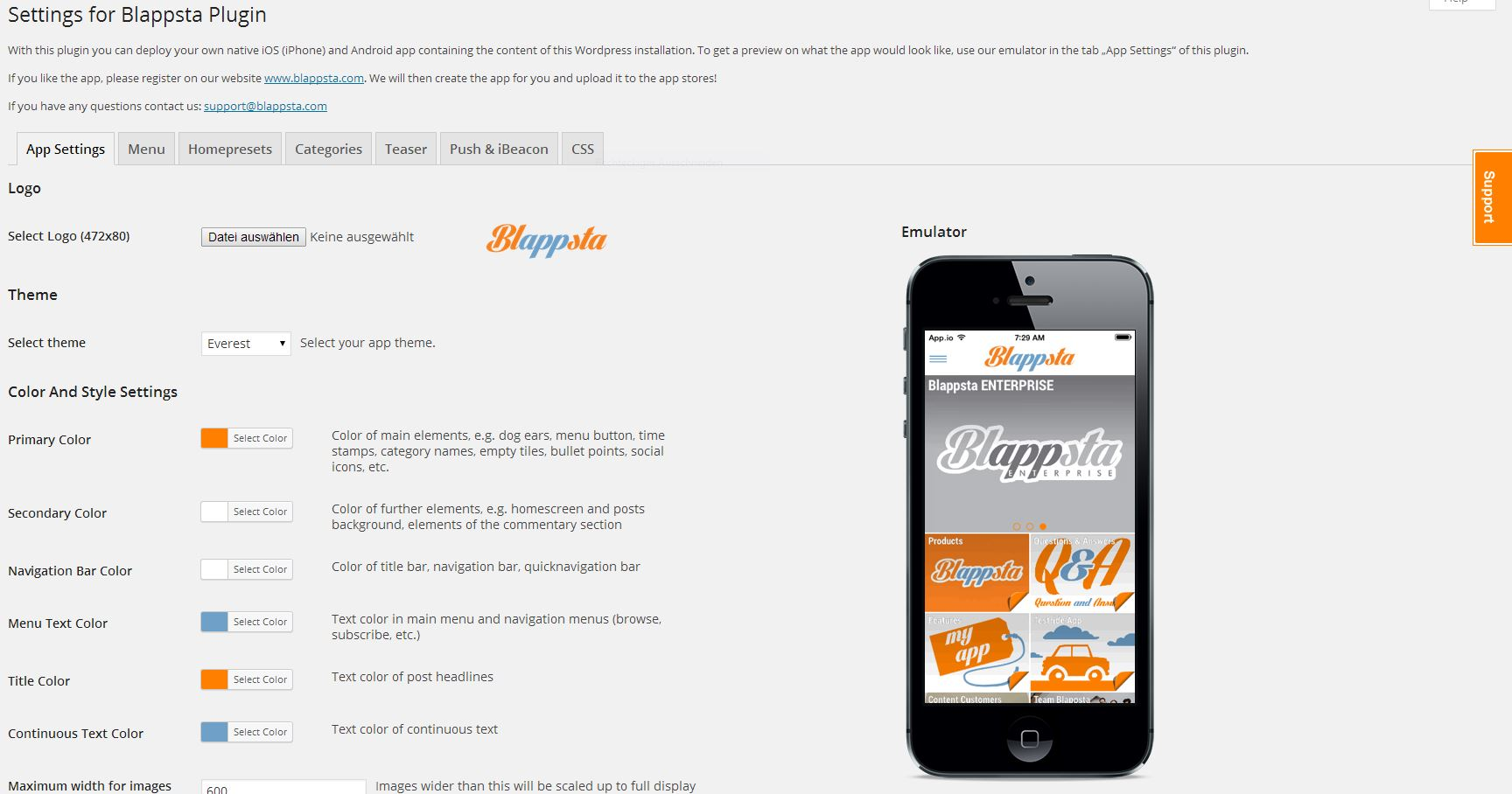 Blappsta Mobile App Plugin – Your native, mobile iPhone App and Android App Capture d'écran