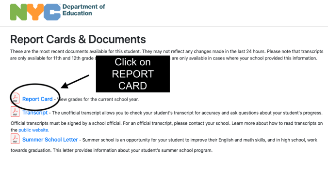 Report Cards & Documents Page on TeachHub. Click on Report card.