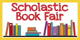 """Books on a shelf with the words """"Scholastic Book Fair"""""""