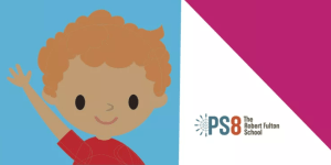 PS8 logo with waving illustration of a student