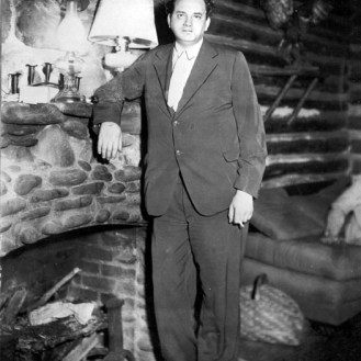 Thomas Wolfe at Cabin Fireplace