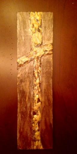golden wood panel cross