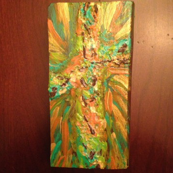 Small wood block radiant cross