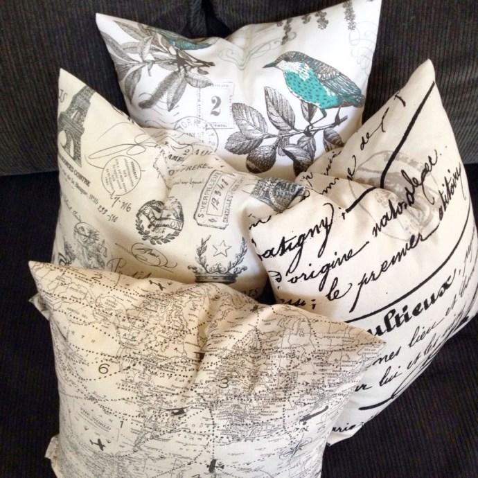 Handsewn envelope pillows in pretty fabrics