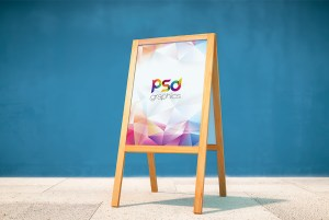 Wooden Display Stand Mockup Free PSD
