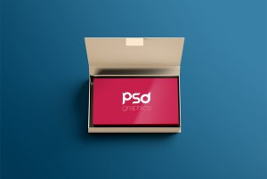 Business Card with Box Mockup PSD