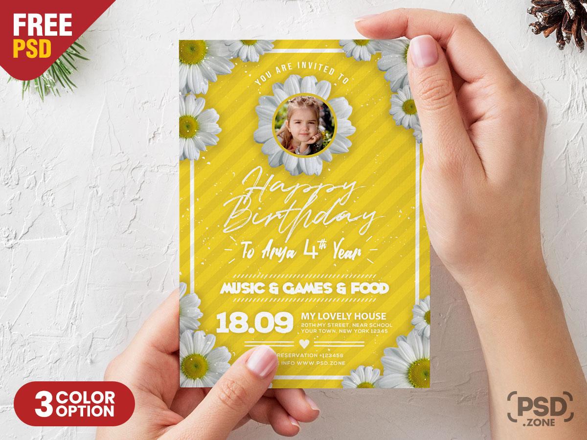 Birthday Card Design Psd Template Psd Zone