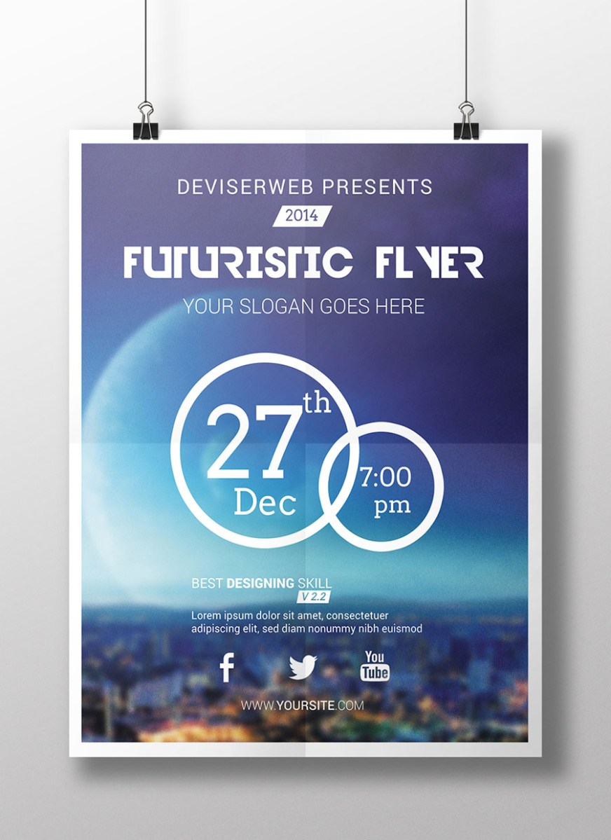 Free Futuristic Party Flyer Template