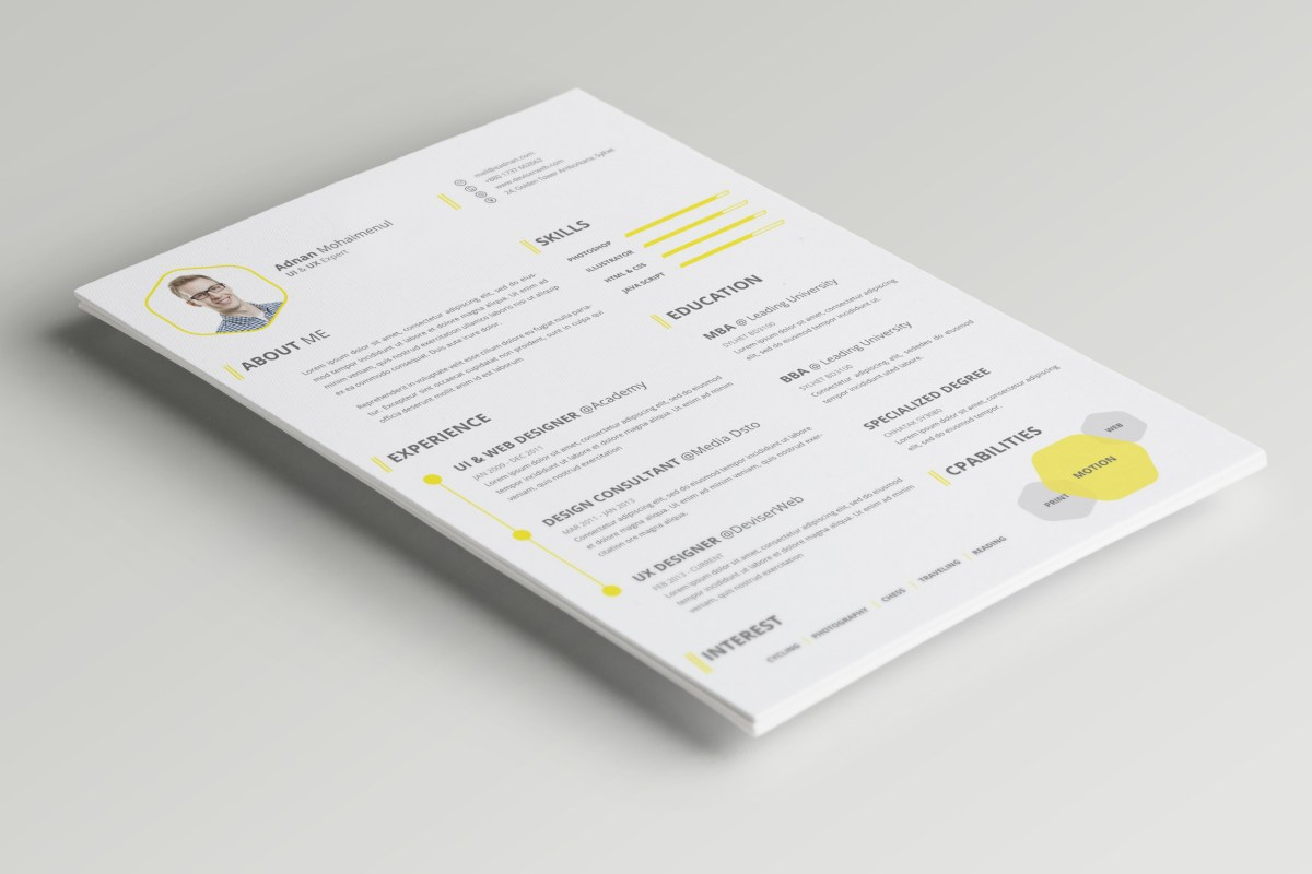 psd cv  resume template  u2013 psdboom