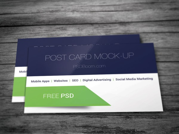Post card mock-up free psd