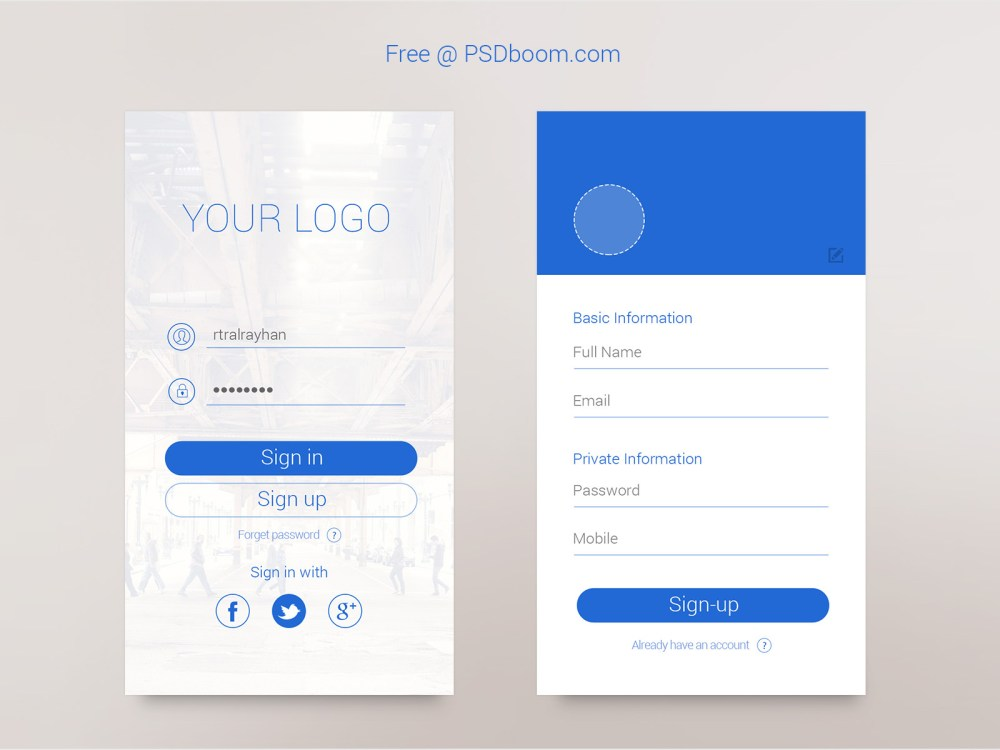 ui app login screen free psd