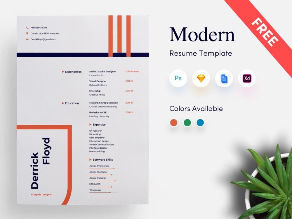 Free Modern CV/Resume Template