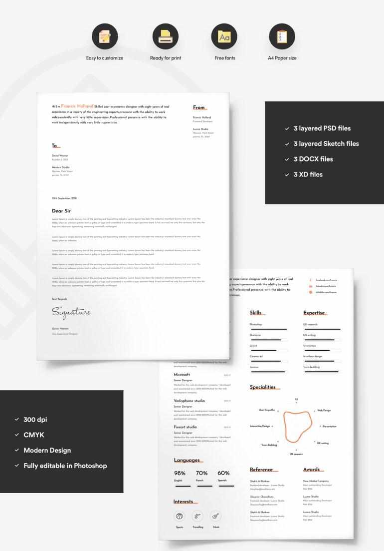 2. Free Resume Template For Designer With Portfolio