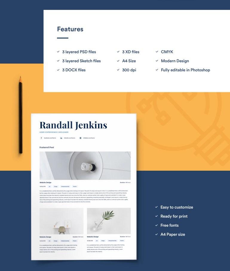 2. Resume Template For Designers With Portfolio