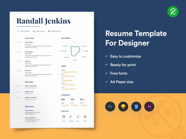 Resume Template For Designers With Portfolio thumb