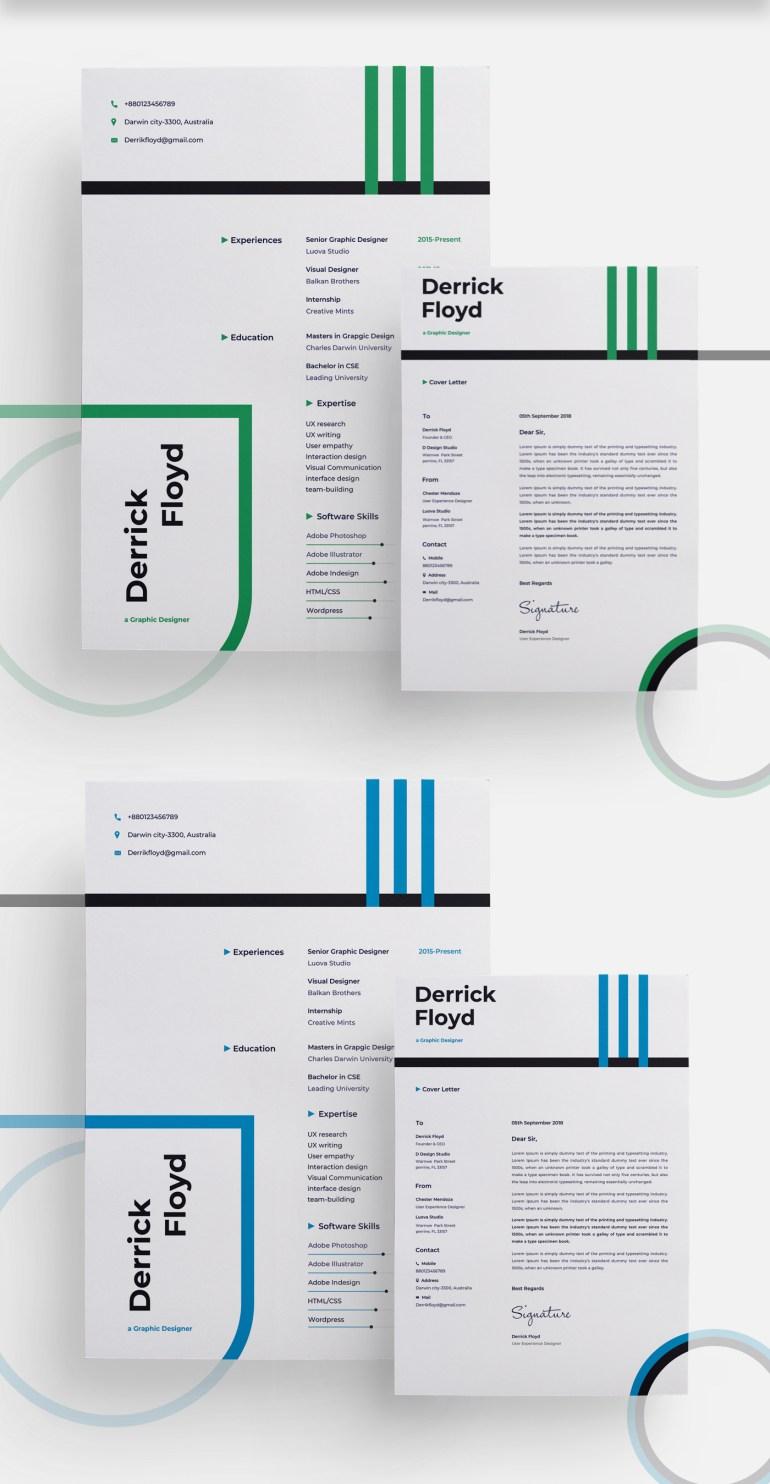 2.Free Modern CV/Resume Template