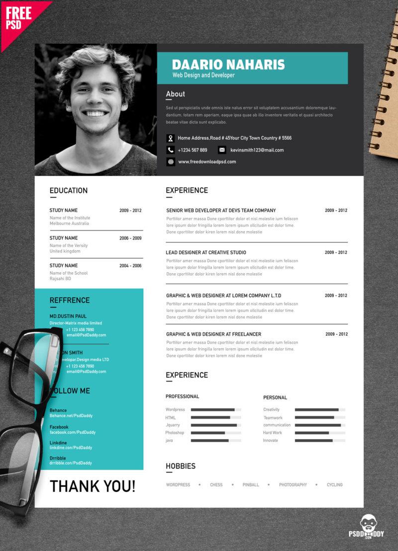 Download Simple Resume Design Free PSD
