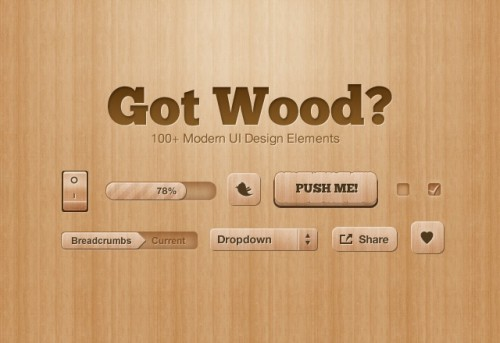 Got Wood UI Design Elements PSD