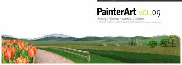 banner illustration landscape psd layered material