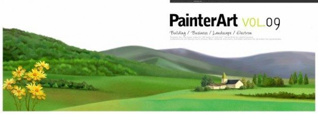 banner illustration landscape psd layered material