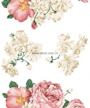 beautiful hand painted style peony psd layered material
