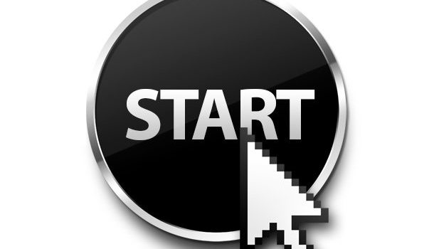 Black start button with pointer (PSD)