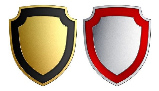 Gold and silver shields