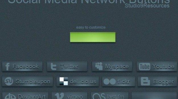 blue social media network buttons set psd