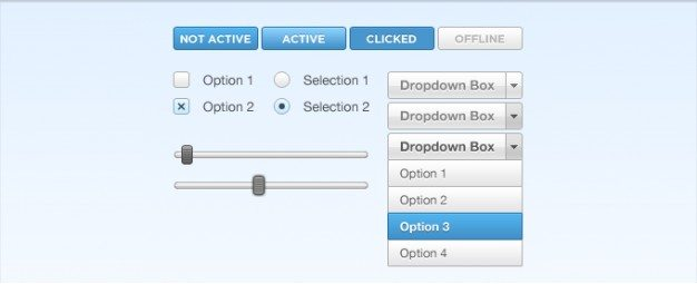 button checkbox dropdown radio slider