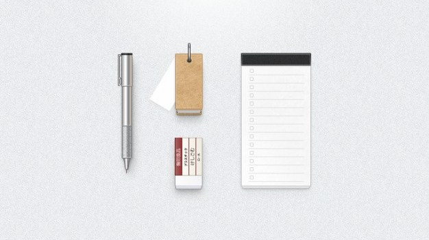 cardboard eraser gear notebook pen psd ui