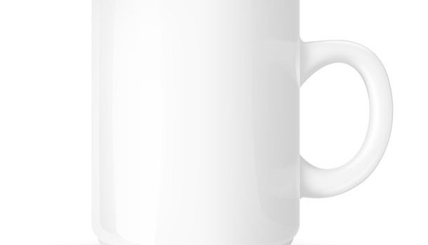 PSD white coffee mug