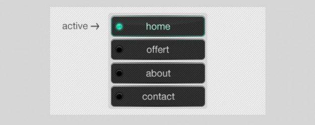 dark grey navigation menu buttons psd