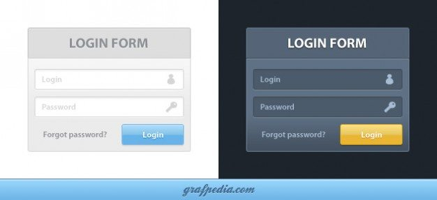 Dark input boxes and buttons PSD