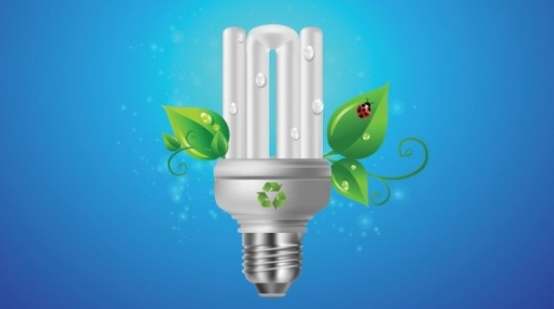 eco energy saving bulb with leaves graphic