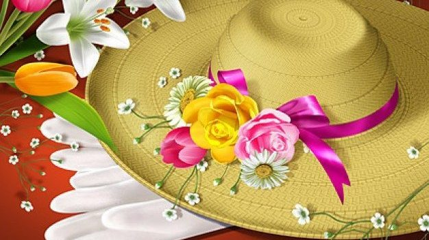 flowers and hat psd layered material